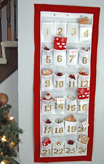 advent calendar from shoe organiser