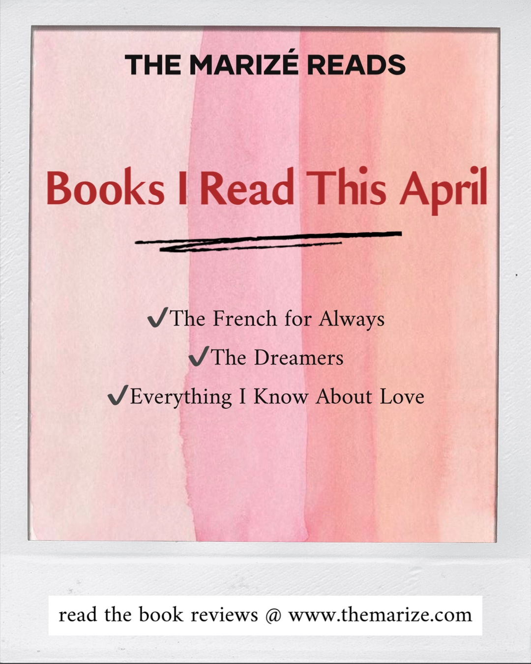 the marizé reads what I read this April pin